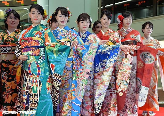 2019年大発会・晴れ着姿の女性たち